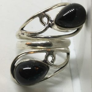 Black Onyx Silver Ring size 7